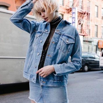 DCKL9 Denim Winter Simple Design Boyfriend Jacket [196477878298]