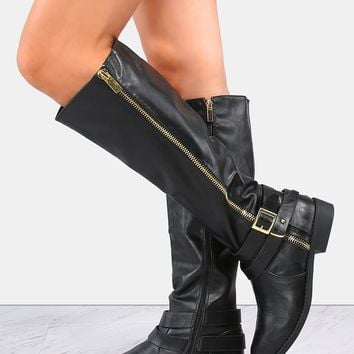 Flat Double Buckle Riding Boots BLACK