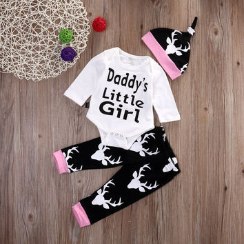 2016 spring autumn Newborn Infant Baby Girl boy Clothes letter Daddys Little Girl Print Romper+Deer Pants +Hat 3pcs Outfits Sets