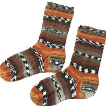 Unisex socks, knit wool socks, brown, orange socks, wool socks, hot socks, striped socks, ankle warmers, charity socks, warm socks, cozy