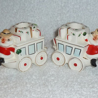 Vintage Holt Howard Christmas 1959 Santa Stagecoach Candleholders Cowboy Western Decoration Figurine Mid-Centry Holiday Napco Lefton