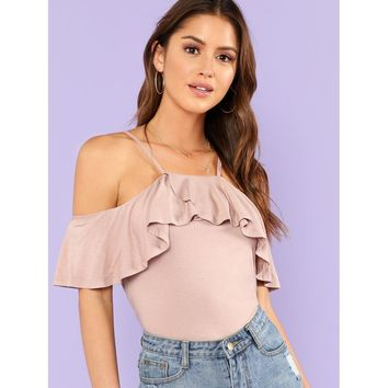 Cold Shoulder Flounce Tee