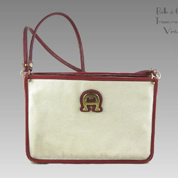 Aigner White Canvas and Oxblood Leather Trim Vintage Designer Purse