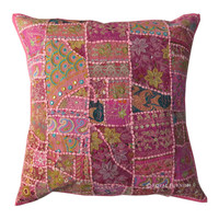 24 Inch Indian Tribal Vintage Patchwork Throw Floor Pillow