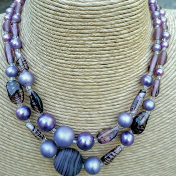 Vintage Double Strand Amythest Colored / Purple Beaded Necklace signed Japan