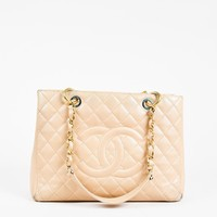 "Chanel ""GST"" Beige Caviar Leather Quilted Shoulder Tote Bag"