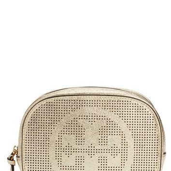 Tory Burch Logo Perforated Metallic Leather Cosmetics Case | Nordstrom