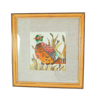 Finished Handmade Art Decor Wild Pheasant Completed and Framed Hand Stitched Embroidery Artwork