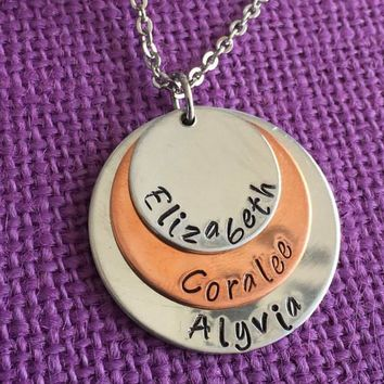 Mom Necklace - Mother's Day Gift - Personalized Mom Necklace - Stacked Disc Necklace - Family Jewelry - Gift for Mom - Mom