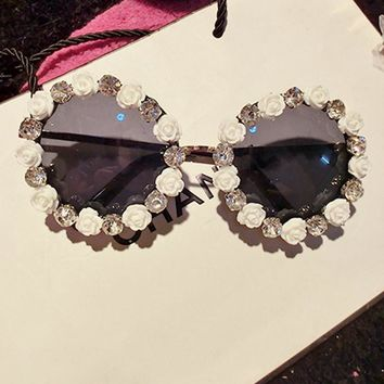Ultimate designer style Round Rhinestone Flower Sunglasses -2 colors