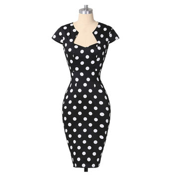 Women Dresses rockabilly Clothing Floral Summer  50s Vintage Pencil Dress