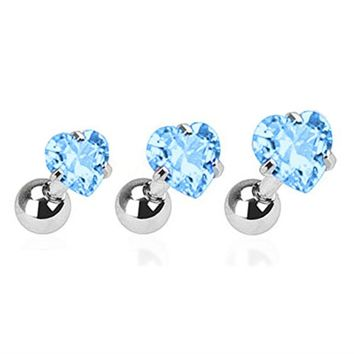 BodyJ4You Tragus Earring Heart Aqua CZ Gem Cartilage Barbell Piercing Jewelry 3PCS