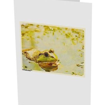"Bullfrog In Watercolor 10 Pack of 5x7"" Side Fold Blank Greeting Cards by TooLoud"