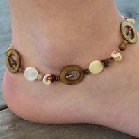 Seashell anklet, shell ankle bracelet, summer jewelry, Montana made, anklet for her, natural anklet, bridesmaid gift, boho, beach jewelry