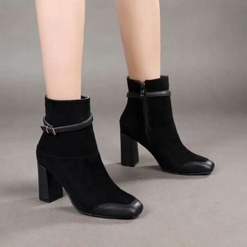 Celine Trending Women Black Side Zip Lace-up Ankle Boots Shoes Best Quality