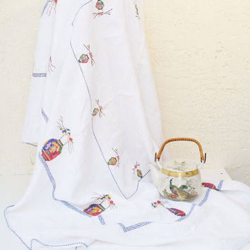 Vintage Tea Tablecloth / Asian Motif Cross-Stitch Tablecloth / Embroidered Chinese Japanese Lanterns / Multicolored Asian Lanterns