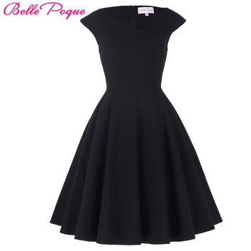 Belle Poque Women Dress Cap Sleeve Plus Size Clothing Audrey hepburn Retro Swing Casual 50s Vintage Rockabilly Dresses Vestidos