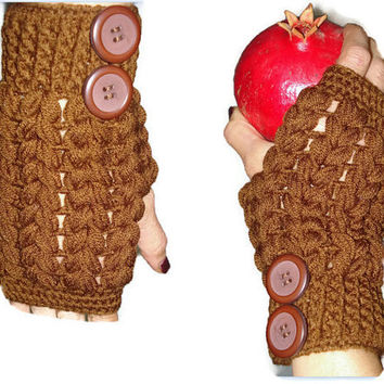 Fingerles Gloves Brown, Hand warmers, Crochet  School Gloves, Handmade Fingerless Gloves, Women Button Hand Warmers, Knit Fingerless Gloves