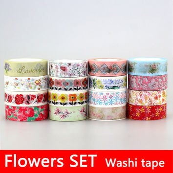 Cherry blossoms Adhesive Tape Flowers Floral set Scrapbooking Paper DIY Sticker Decorative Masking Japanese Washi Tape Lot 10m