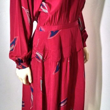 Vintage 70's Albert Nipon 100% Silk Dress Size 12 Red Long Sleeve P1100
