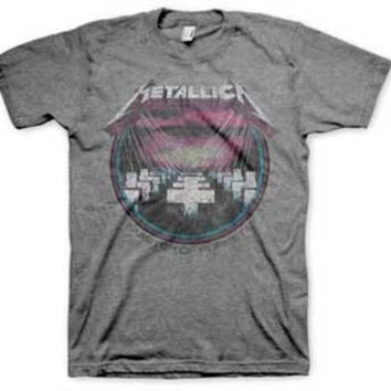 Featuring The Metallica Master of Puppets Vintage print on front, around neckline, short sleeves.