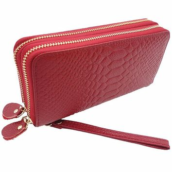 Hot Sell New Thick Purse Fashion Women Double Zipper Wallet Wristlet Bag With Serpentine Genuine Cow leather