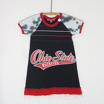 Girls Size 4 One of a Kind, Upcycled Ohio State TShirt Dress,Double Ruffle Hem, Neck Button Detail,Tie Dye Black White Short Raglan Sleeve