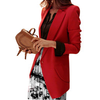 Plus Size Women Spring Red Black Shrug Shoulder Pads Long Blazer Suit For Women Red/black