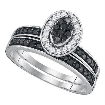 Sterling Silver Women's Black Color Enhanced Diamond Cluster Bridal Wedding Engagement Ring Band Set 1/2 Cttw - FREE Shipping (US/CAN)
