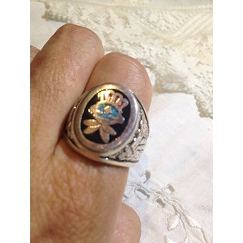 Vintage 1980's Native American Style Southwestern Turquoise Stone inlay Men's Ring