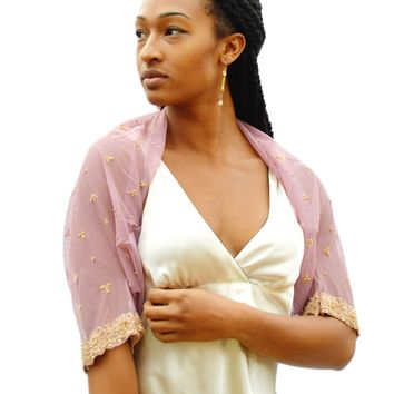 embroidered and beaded mauve shrug