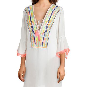 La Moda Ethnic Dream Embroidered Caftan Cover Up | Dillard's