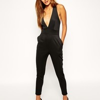 ASOS Scuba Plunge Jumpsuit with Cross Back at asos.com
