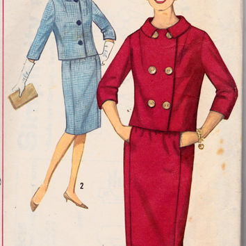 SALE 1960s Misses Single or Double Breasted Suit Simplicity 5145 Womens Vintage Sewing Pattern Bust 34""