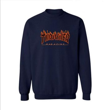 Fall and Winter Thrasher Flame Skateboard Tide Death Hip Hop West Coast Harajuku cotton round neck sweater Black letters-3