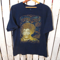 Jimi Hendrix Voodoo Child Freedom Retro T-Shirt, Size Large, Navy Blue Shirt