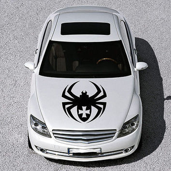 EVIL SPIDER ANIMAL, CROSS DESIGN HOOD CAR VINYL STICKER DECALS ART MURALS SV1153