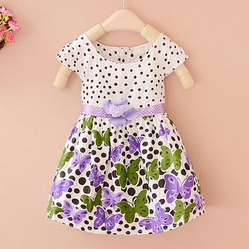 Summer Baby Girls Dress Kids Polka Dots Butterfly Print Party Princess Dress for Kids Girls Bohemian Fashion Clothes