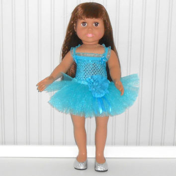 18 inch Doll Clothes Turquoise Dance Outfit with Sequin Leotard and Tutu American Doll Clothes