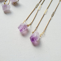 Amethyst - Tiny raw Amethyst cluster and vintage brass chain minimalist everyday necklace