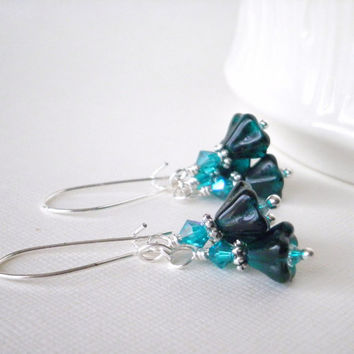 Glass Flower Earrings Dark Aqua Flower Dangles by FiveLittleGems
