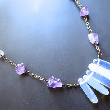 Opal Amethyst Crystal Necklace Choker Moonstone Opalite Gemstone Nugget Chain Tooth Rough Raw Natural Genuine Gem Stone Layering Pendant