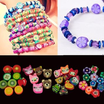 NEW 100pcs colorful Fimo Polymer Clay Fruit Spacer Beads for Bracelets Pendant Z_G