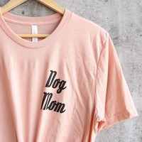 Distracted - Dog Mom Unisex Graphic Tee in Peach/Black