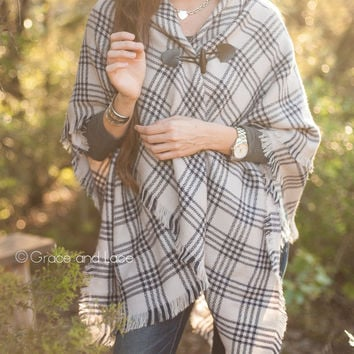 GRACE & LACE: Blanket Scarf/Toggle Poncho - Navy Striped