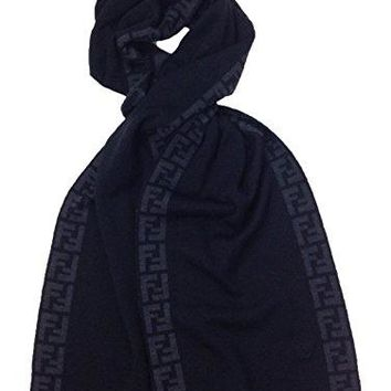 Fendi Knit Monogram Wool Scarf Zucca Stripe, Nero Black