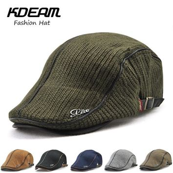 Wool knitting Berets Cap Adjustable Caps for Men Breathable Women Warm Hats Flat Cotton Newsboy fashion