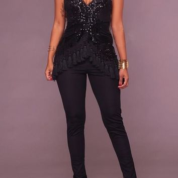 Black Patchwork Sequin Spaghetti Strap Tassel Elastic Waist Bodycon Party Long Jumpsuit