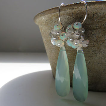 Aqua Chalcedony, Ethiopian Opals, Rose Quartz, and Labradorite Sterling Silver Cluster Earrings ~ OOAK! Spring ~ Wedding ~ Perfect Pastels
