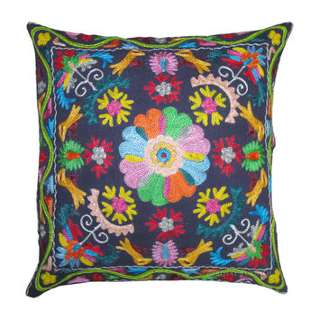 """16"""" Beautiful Blue Color Suzani Embroidered Decorative Cotton Cushion Pillow Throw Cover Embroidery Ethnic Indian Art"""